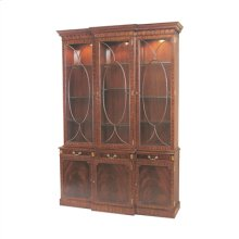 Light Crotch Mahogany Lighted Breakfront China Cabinet, Glass Shelves, Brass Mounts