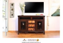 """63"""" TV Stand w/DVD compartments, 3 drawers, 2 glass doors"""