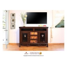 "63"" TV Stand w/DVD compartments, 3 drawers, 2 glass doors"