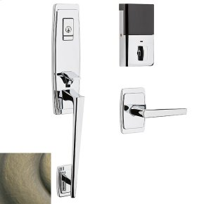 Satin Brass and Black Evolved Palm Springs 3/4 Escutcheon Handleset
