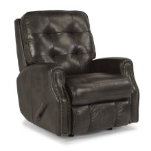 Devon Leather Swivel Gliding Recliner with Nailhead Trim