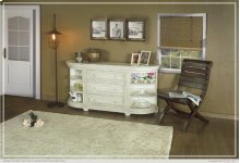 3 Drawers w/ 6 Shelves Console Ivory finish