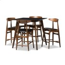 Baxton Studio Flora Mid-Century Modern Black Faux-Leather Upholstered Walnut Finished 5-Piece Pub Set Product Image