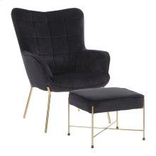 Izzy Lounge Chair + Ottoman Set - Gold Metal, Black Velvet