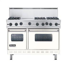 "Cotton White 48"" Open Burner Commercial Depth Range - VGRC (48"" wide, six burners 12"" wide griddle/simmer plate)"