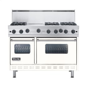 "Cotton White 48"" Open Burner Commercial Depth Range - VGRC (48"" wide, six burners 12"" wide griddle/simmer plate)"