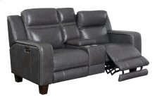 Power Console Loveseat W/2 Power Headrests-top Leather #graphite