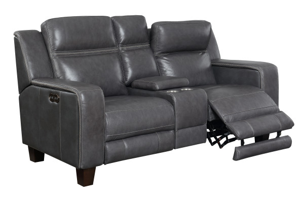 Power Console Loveseat W/2 Power Headrests Top Leather #graphite