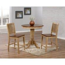 "DLU-BR3636CB-B60-PW3PC  3 Piece 36"" Round Pub Table Set with Slat Back Stools"