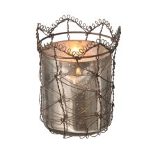 Mercury Glass Votive Holder with Rusted Wire