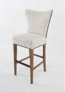 Large scale curved back wing style barstool with decorative nails & wood legs