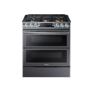 Samsung5.8 cu. ft. Slide-In Gas Range with Flex Duo & Dual Door in Black Stainless Steel