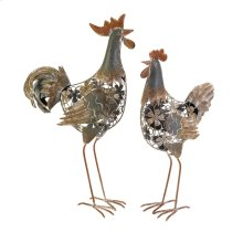 Hinslow Metal Hen and Rooster - Set of 2