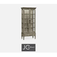 Tall Rustic Grey Plank Glazed Display Cabinet