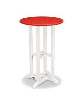 "White & Sunset Red 24"" Round Counter Table"