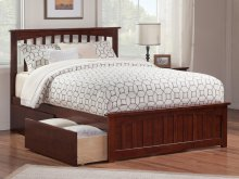 Mission Queen Bed with Matching Foot Board with 2 Urban Bed Drawers in Walnut