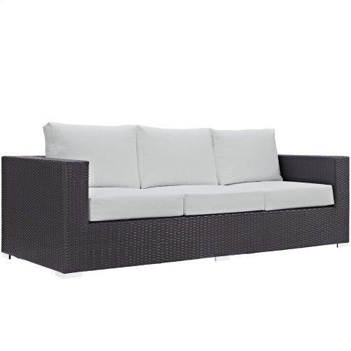 Convene Outdoor Patio Sofa in Espresso White
