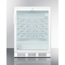 Commercially approved wine cellar for freestanding use with glass door, lock, and white cabinet