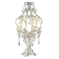 White with Gold Brush Chandelier 4-Light Table Lamp. 25W Max. Product Image