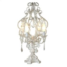 White with Gold Brush Chandelier 4-Light Table Lamp. 25W Max.