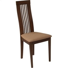 Hamlet Walnut Finish Wood Dining Chair with Framed Rail Back and Brown Fabric Seat