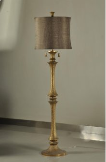 ACCRA FLOOR LAMP  Brass Finish on Resin Body  Softback Shade  150 Watt  3-Way Socket