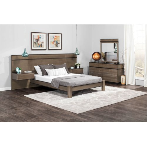 """Audri Panel Bed with 18"""" Attached Nightstands (Redesigned), Audri Panel Bed with 18"""" Attached Nightstands, Queen"""