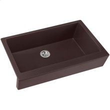 "Elkay Quartz Luxe 35-7/8"" x 20-15/16"" x 9"" Single Bowl Farmhouse Sink with Perfect Drain, Chestnut"