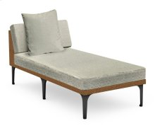 "32"" Tan Rattan Chaise Lounge Sectional, Upholstered in Standard Outdoor Fabric"