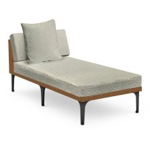 """32"""" Outdoor Tan Rattan Sofa Lounger Sectional, Upholstered in Standard Outdoor Fabric"""