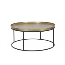 Coffee table 89x42 cm SERENA raw antique bronze+matt black