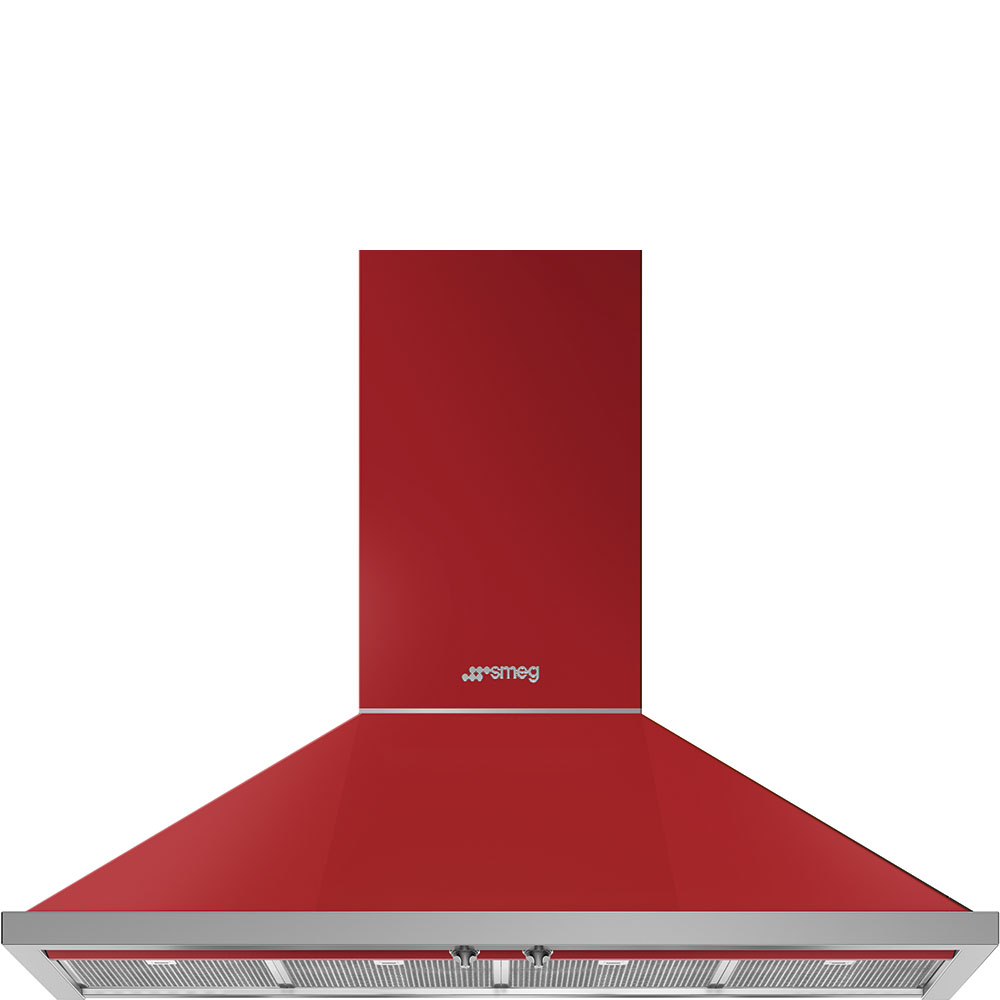 "Smeg48"" Portofino Chimney Hood, Red"