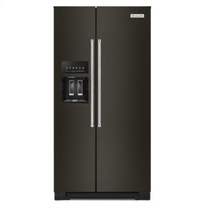 KITCHENAID22.6 cu ft. Counter-Depth Side-by-Side Refrigerator with Exterior Ice and Water and PrintShield(TM) finish - Black Stainless Steel with PrintShield(TM) Finish