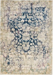 Fusion Fss12 Cream Blue Rectangle Rug 5'3'' X 7'3''