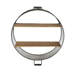 "Round Wire & Wood Wall Shelf, 25"", Brown"