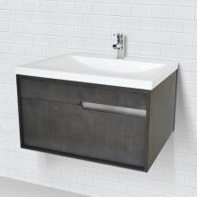 Cityscape Wallmount Vanity With Solid Surface Countertop - Charcoal