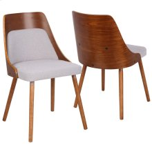 Anabelle Chair - Walnut Wood, Grey Fabric