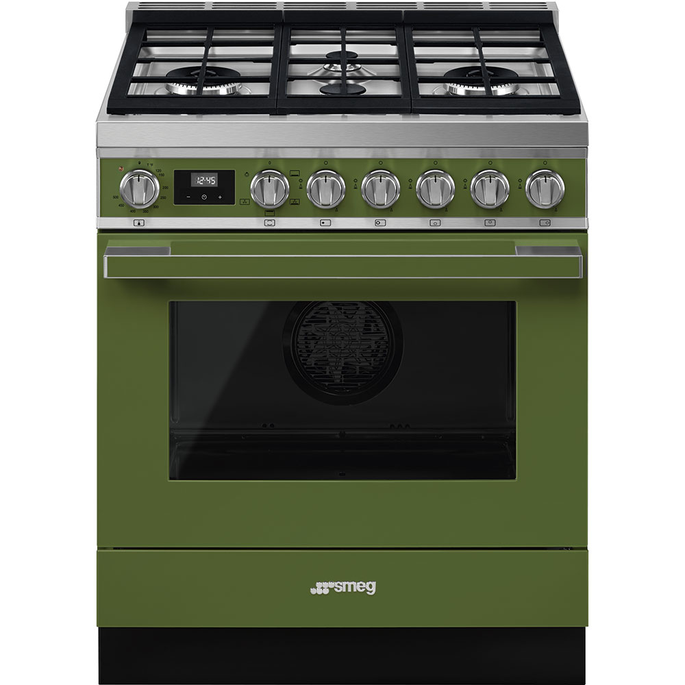 "SmegPortofino Pro-Style All-Gas Range, Olive Green, 30"" X 25"""