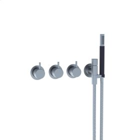 Two-handle build-in mixer with 1/4 turn ceramic disc technology and diverter - Dark grey