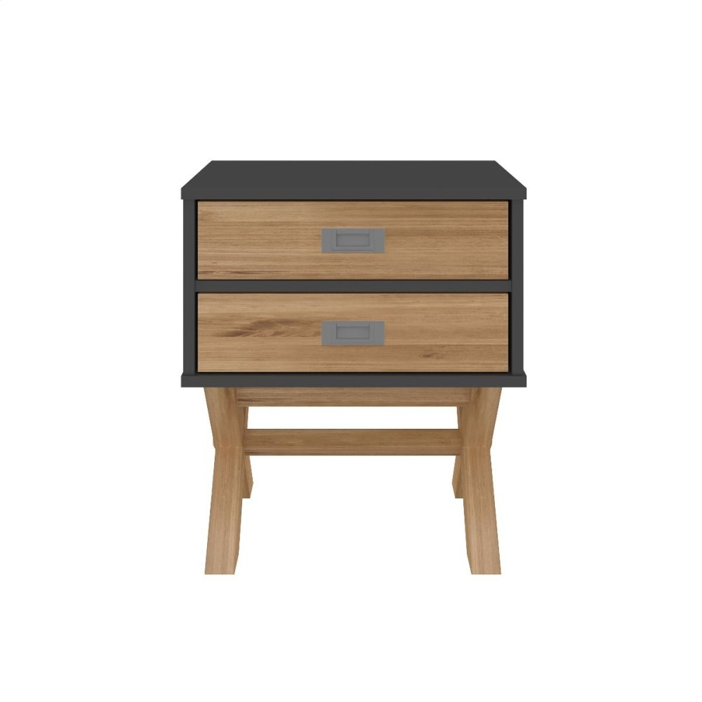 Rustic Mid-Century Modern 2-Drawer Barclay Nightstand in Dark Grey and Natural Wood