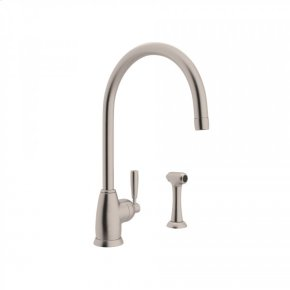 """Satin Nickel Perrin & Rowe Holborn Single Hole Kitchen Faucet With """"C"""" Spout And Sidespray with Contemporary Metal Lever"""