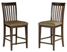 Mission Pub Chairs Set of 2 with Cappuccino Cushion in Walnut
