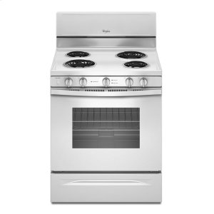 4.8 Cu. Ft. Freestanding Electric Range with High-Heat Self-Cleaning System - WHITE