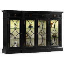 Four Door Breakfront Black Display Cabinet