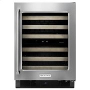 """KitchenAid® 24"""" Wine Cellar with Glass Door and Wood-Front Racks - Black Cabinet/Stainless Doors Product Image"""
