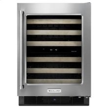 """KitchenAid® 24"""" Wine Cellar with Glass Door and Wood-Front Racks - Black Cabinet/Stainless Doors"""