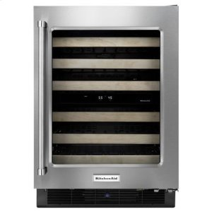 "KitchenAidKitchenAid® 24"" Wine Cellar with Glass Door and Wood-Front Racks - Black Cabinet/Stainless Doors"