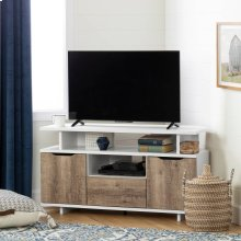 Corner TV Stand, for TVs up to 55'' - Pure White and Weathered Oak