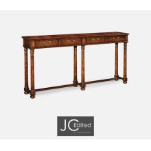 Large Walnut Oyster Parquet Console