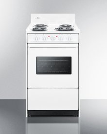 "20"" Wide Electric Range In White With Oven Window, Interior Light, and Lower Storage Compartment"